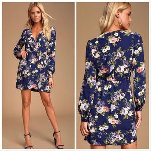 Lulu's | That's a a Wrap Navy Blue Floral Dress